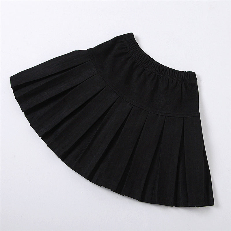 Girls Solid Turtleneck Long Sleeve Top & Pleated Skirt Wholesale Girl Clothing