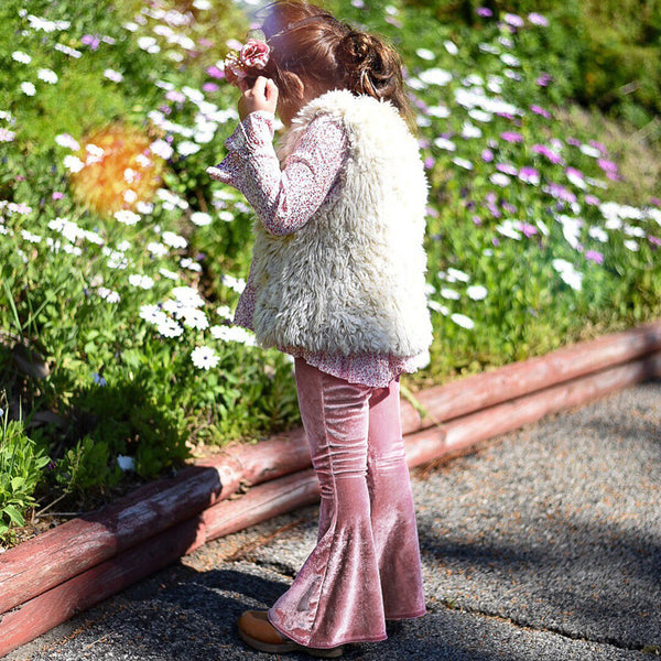 Toddler Girls Solid Velvet Flared Pants Girls Wholesale Clothes