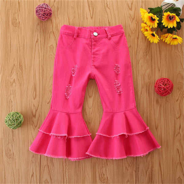 Girls Solid Wide Leg Ripped Bell Trousers Girls Clothing Wholesale