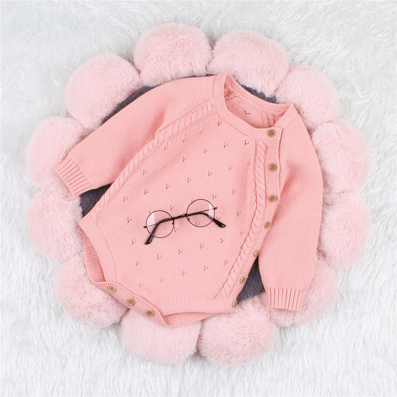 Baby Solid knitting Long Sleeve Casual Romper