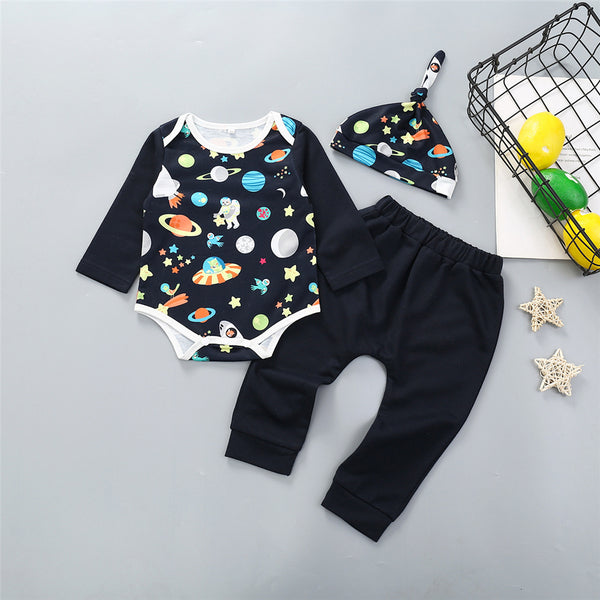Baby Boys Space Printed Long Sleeve Romper & Pants & Hat Wholesale Baby