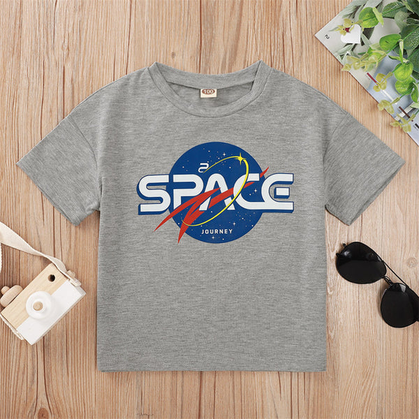 Boys Space Printed Short Sleeve Casual Top wholesale boys clothing