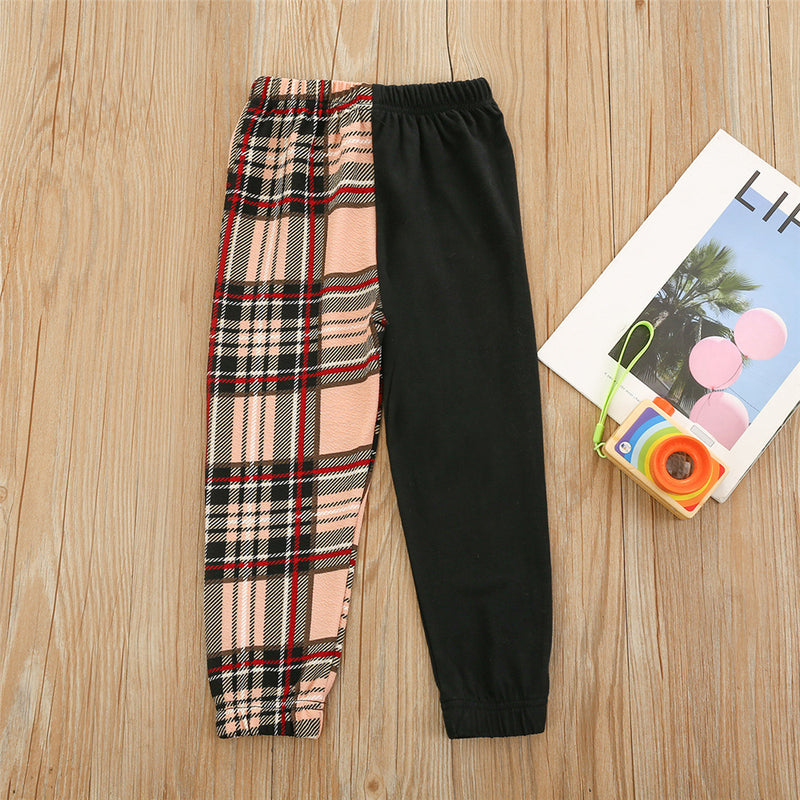 Girls Splicing Plaid Solid Fashion Pants childrens wholesale clothing