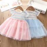 Girls Splicing Striped Flying Sleeve Tulle Dresses wholesale kids clothing