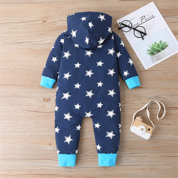 Baby Boys Star Hooded Long Sleeve Romper Buy Baby Clothes Wholesale