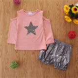 Girls Star Long Sleeve Solid Color Top & Shorts Wholesale Baby Outfits Girl