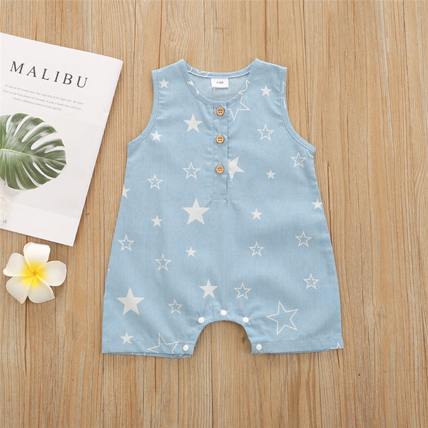 Baby Unisex Star Printed Button Sleeveless Romper cheap baby clothes wholesale