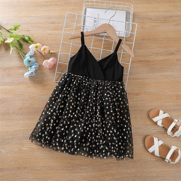 Girls Star Printed Princess Suspender Dress kids clothes wholesale