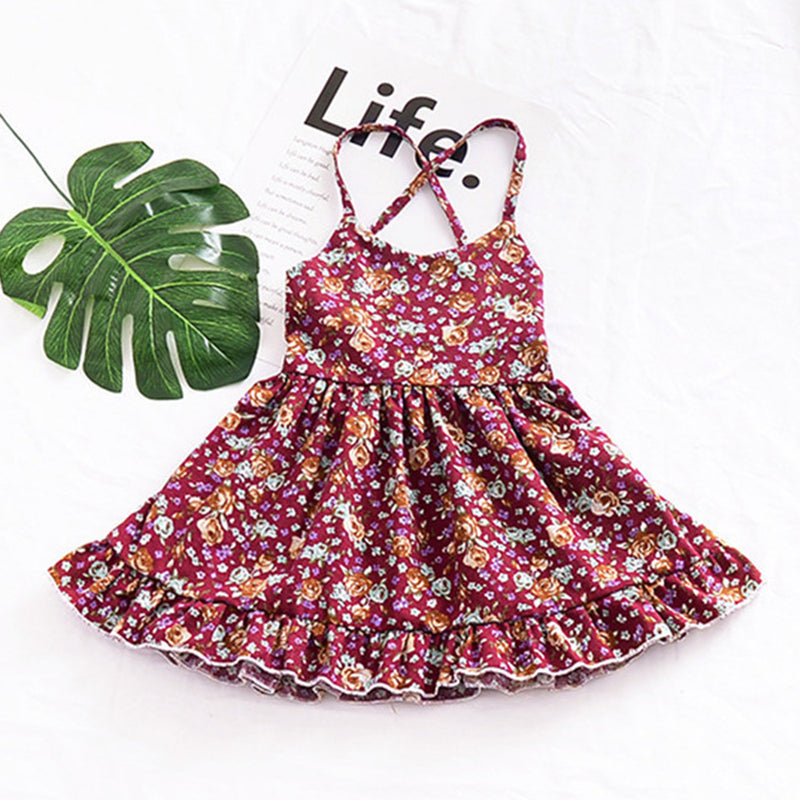 Girls Floral Printed Tie Up Suspender Dresses Girl Boutique Clothing Wholesale