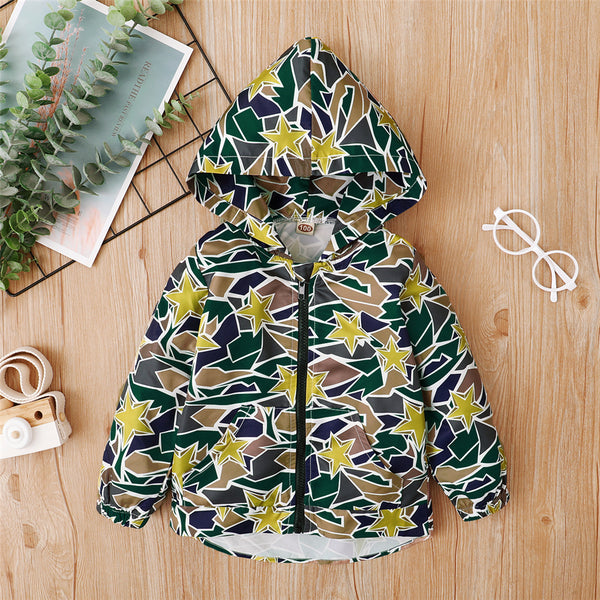 Baby Boys Star Printed Zipper Long Sleeve Hooded Jacket Baby Clothes Wholesale Suppliers
