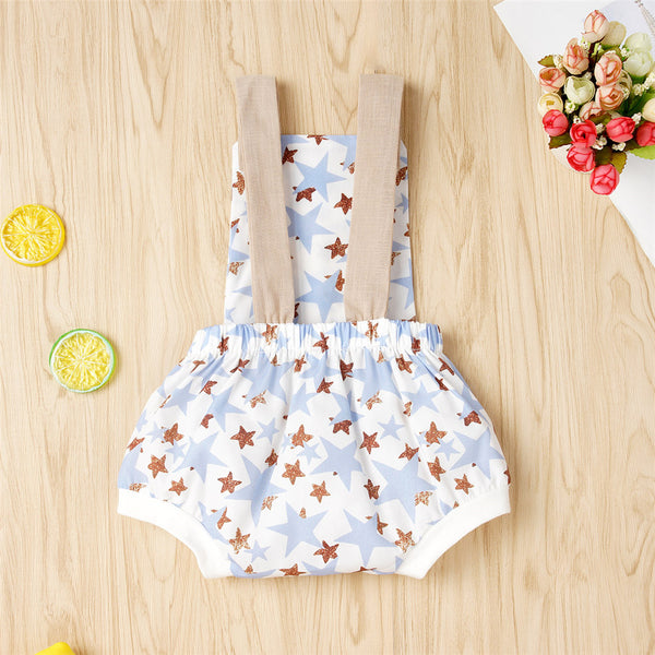 Baby Unisex Star Rainbow Printed Suspender Romper Wholesale Baby Rompers