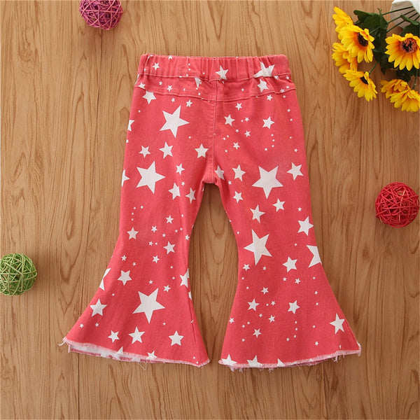 Toddler Girls Star Ripped Flared Jeans Girls Clothes Wholesale