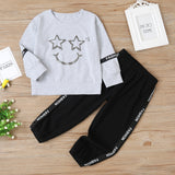 Unisex Star Smiley Face Long Sleeve Top & Pants Kids Fashion Wholesale