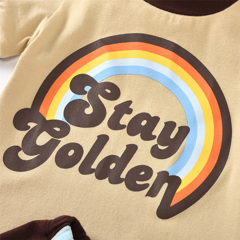 Unisex Stay Golden Rainbow Printed Short Sleeve Top & Shorts Kids Wholesale Clothing