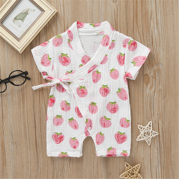 Baby Unisex Strawberry Floral Rabbit Printed Short Sleeve Romper Baby Wholesale Suppliers