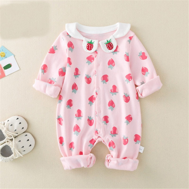 Baby Strawberry Long Sleeve Cute Rompers