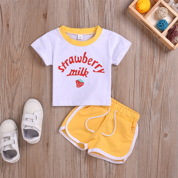 Girls Strawberry Milk Short Sleeve Top & Shorts Wholesale Childrens Clothing