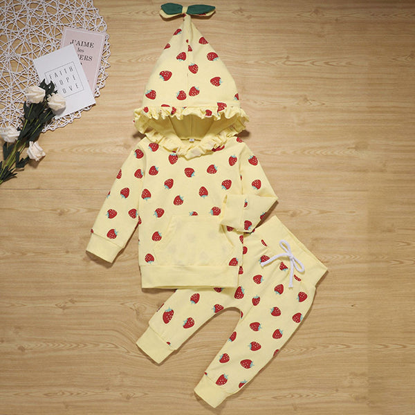 Baby Girls Strawberry Print Hooded Cute Sets Baby Clothes Wholesale Bulk