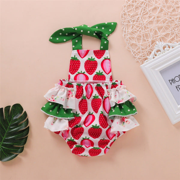 Baby Girls Strawberry Printed Lovely Sling Romper wholesale baby boutique suppliers usa