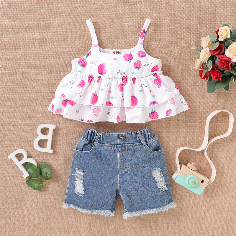 Girls Strawberry Printed Sling Top & Ripped Denim Shorts Wholesale Girls Clothing