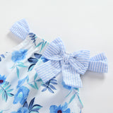 Baby Girls Stripe Bow Decor Floral Printed Sleeveless Top & Shorts Wholesale Clothing Baby