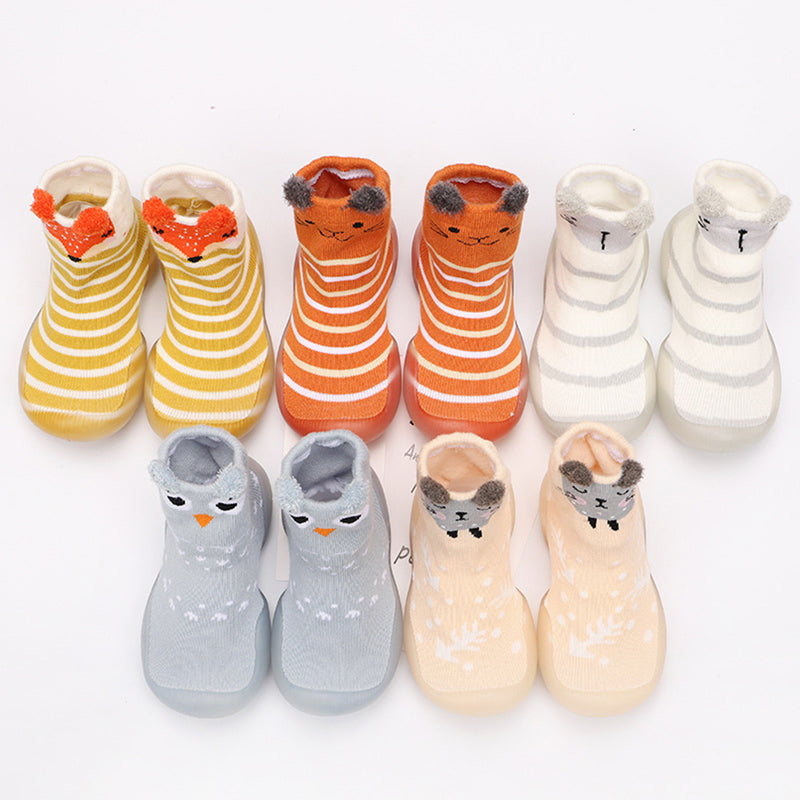 Baby Stripe Cartton Animal Sock Shoes