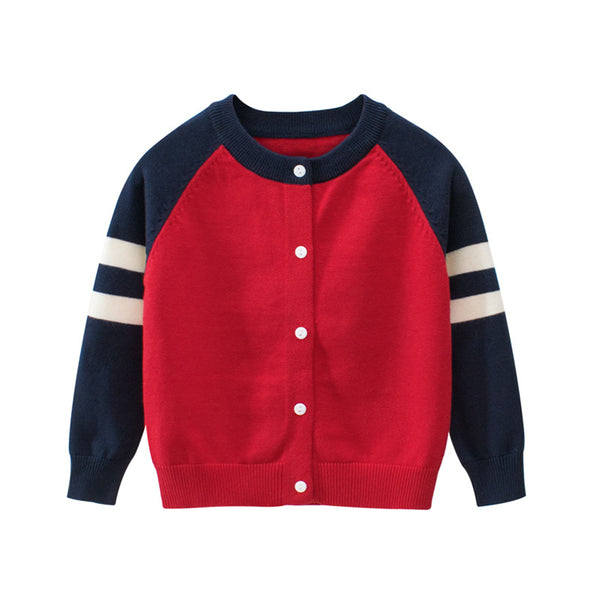Boys Color Block Cardigan Long Sleeve Sweaters Toddler Boys Cardigans