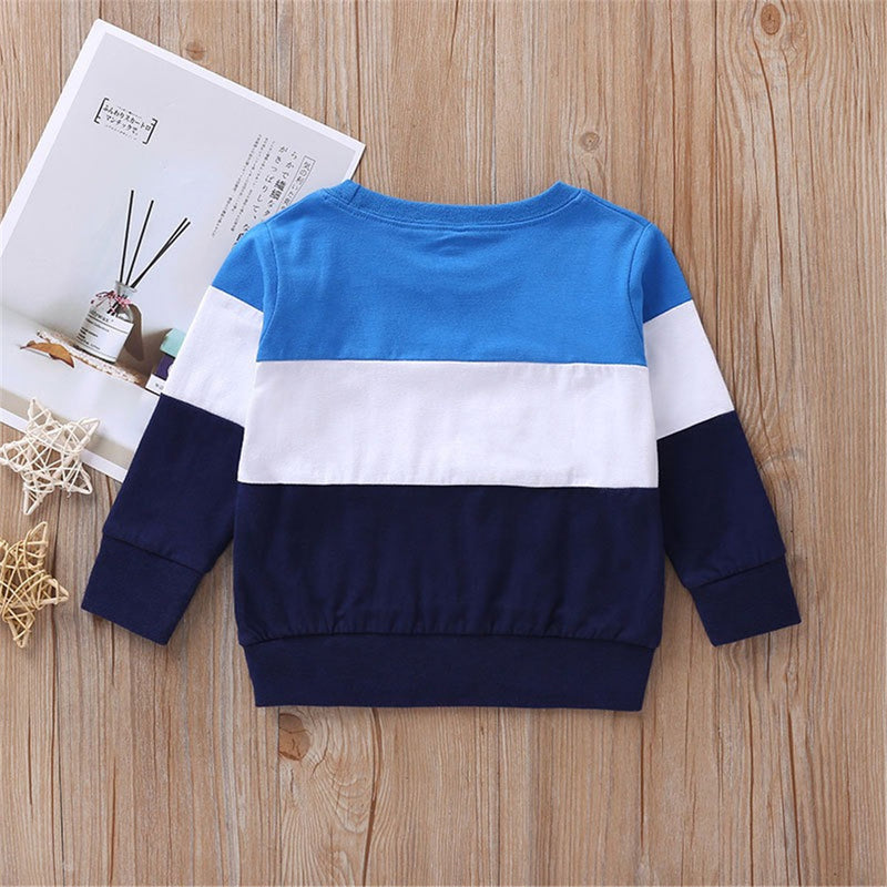 Boys Stripe Color Blocking Casual Tops