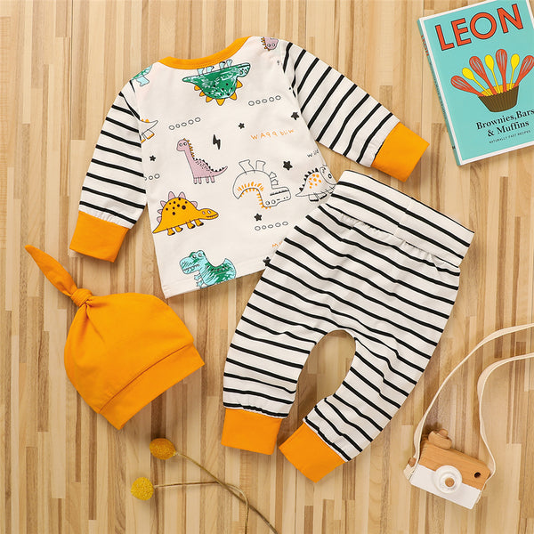 Baby Boys Stripe Dinosaur Top & Pants & Hat Baby Clothes Wholesale Supplier