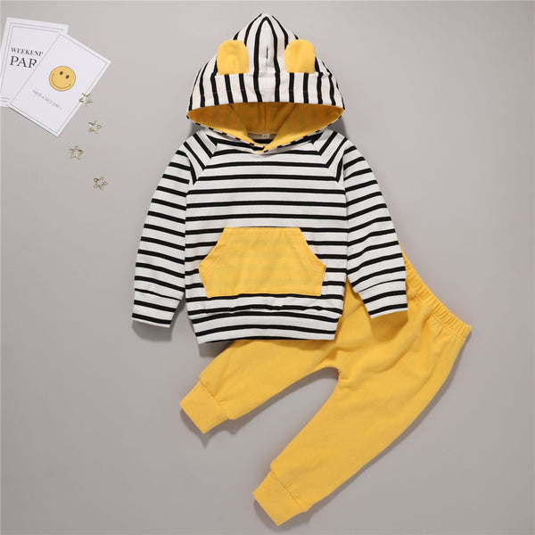 Baby Unisex Stripe Hooded Top & Pants Baby Wholesale Clothes