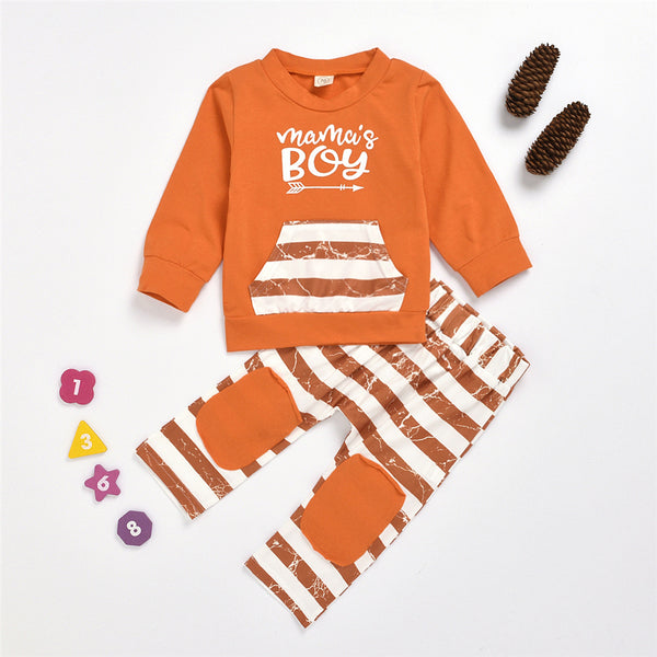 Baby Boys Stripe Letter Printed Pullover & Pants Wholesale Baby Cloths