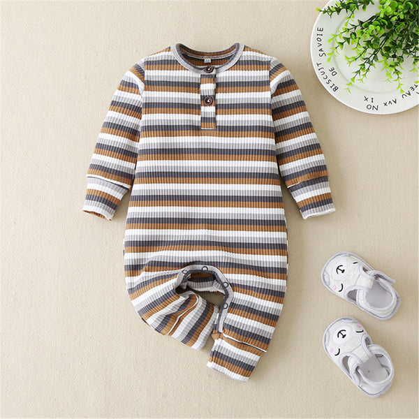 Baby Stripe Long Sleeve Casual Rompers