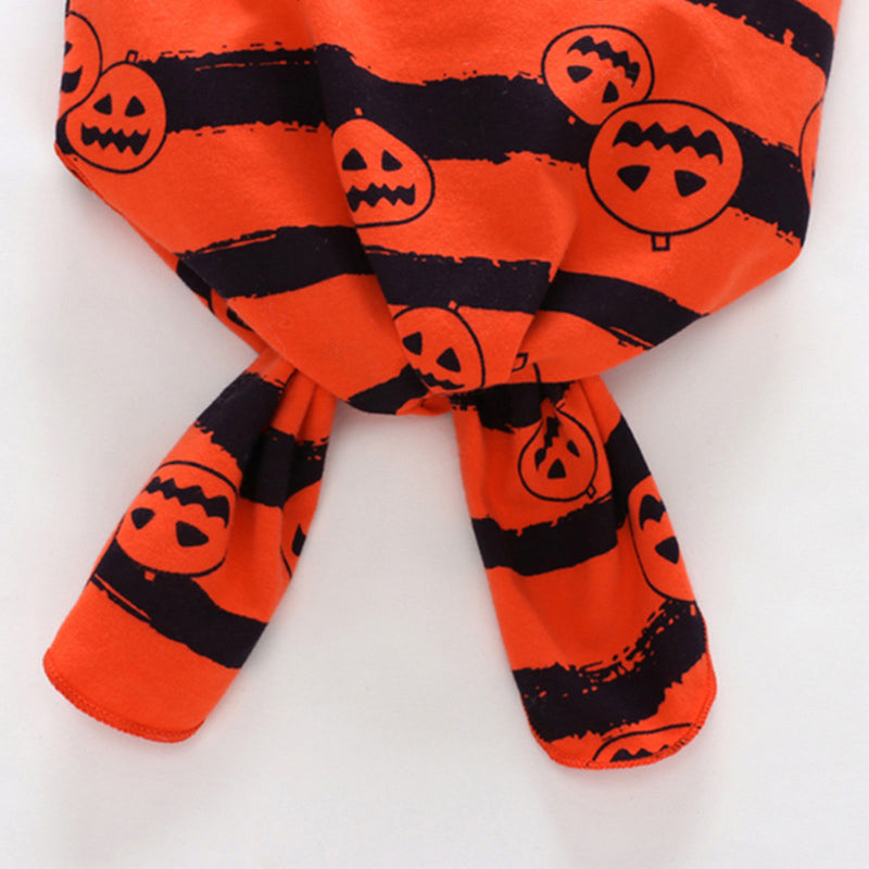 Baby Stripe Long Sleeve Halloween Jumpsuit & Hat & Headband