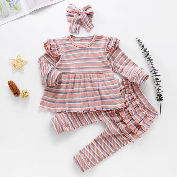 Baby Girls Stripe Long Sleeve Top & Bottoms & Headband Baby Clothes Warehouse