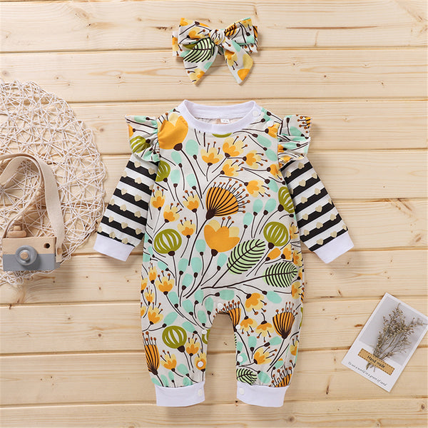 Baby Girls Stripe Plant Print Romper & Headband Baby Clothing Warehouse