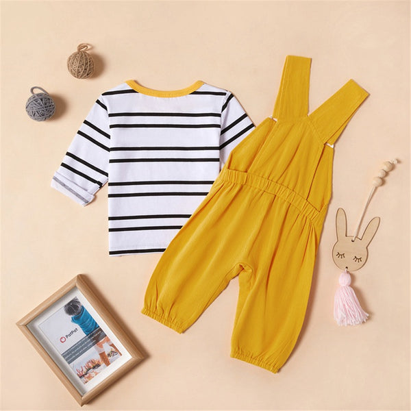 Baby Girls Stripe Long Sleeve Top & Linen Overalls Baby Clothes Cheap Wholesale