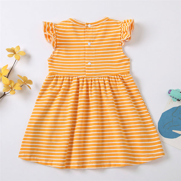 Baby Girls Striped Bird Embroidery Flying Sleeve Dresses kids clothes wholesale