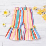 Baby Girls Striped Bow Decor Flared Pants Cheap Boutique Baby Clothing