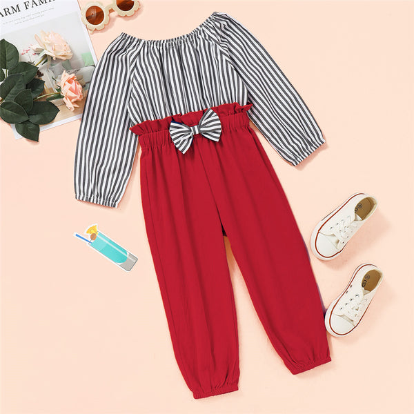 Toddler Girls Striped Bow Decor Long Sleeve Jumpsuit Baby Girl Wholesale