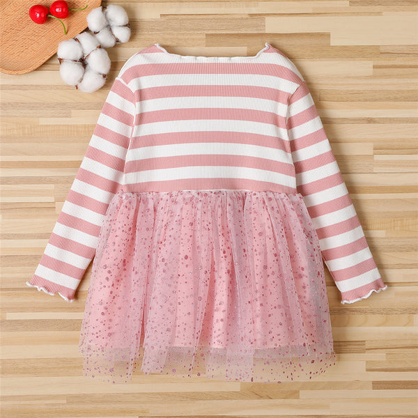 Girls Striped Bow Decor Long Sleeve Princess Tulle Dress Kids Wholesale Clothing Warehouse