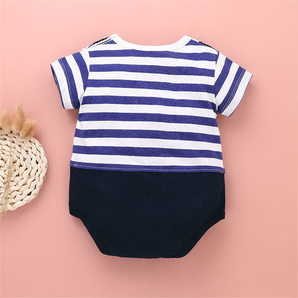 Baby Boys Striped Bow Tie Short Sleeve Romper Wholesale Baby Clothes