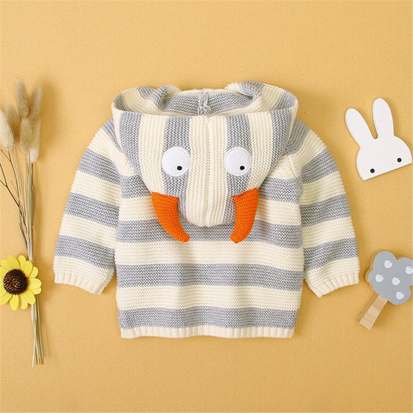 Baby Striped Button Knitted Pocket Cardigan Sweaters