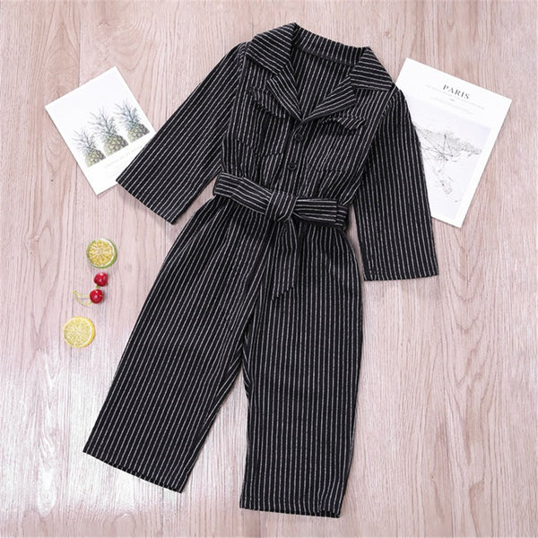 Toddler Girls Striped Button Lapel Long Sleeve Jumpsuit Girl Wholesale