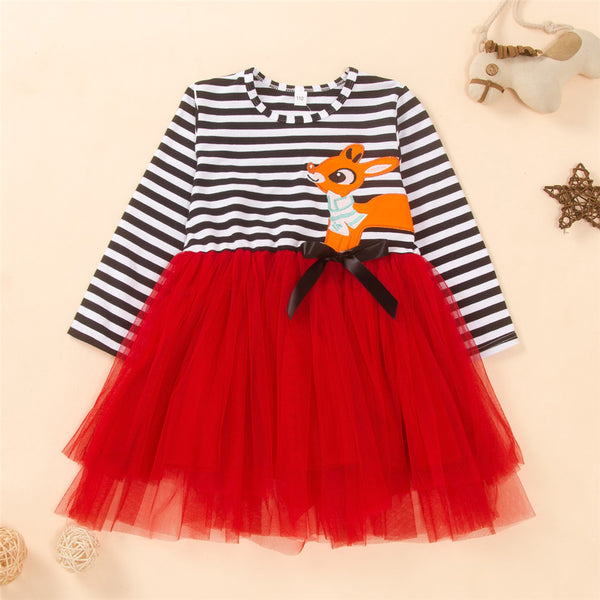 Girls Striped Cartoon Tulle Splicing Dress Wholesale Little Girl Clothes