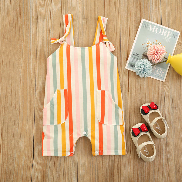Baby Girls Striped Cherry Lemon Printed Pocket Suspender Romper Wholesale Baby Clothes
