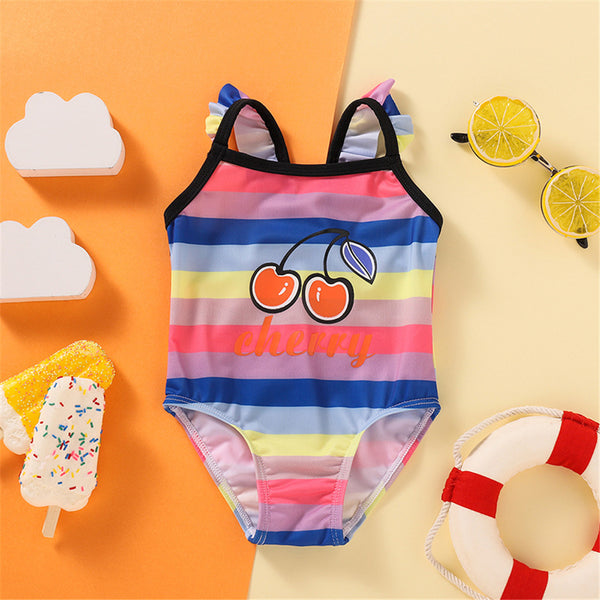 Baby Girls Striped Cherry Printed Sleeveless Swimwear Toddler One Piece Swimsuit