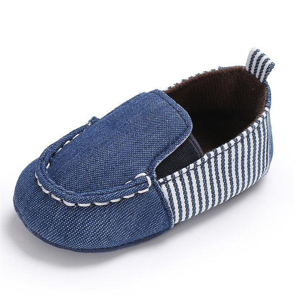 Baby Boys Striped Denim Toddler Slip Ons Flat Shoes