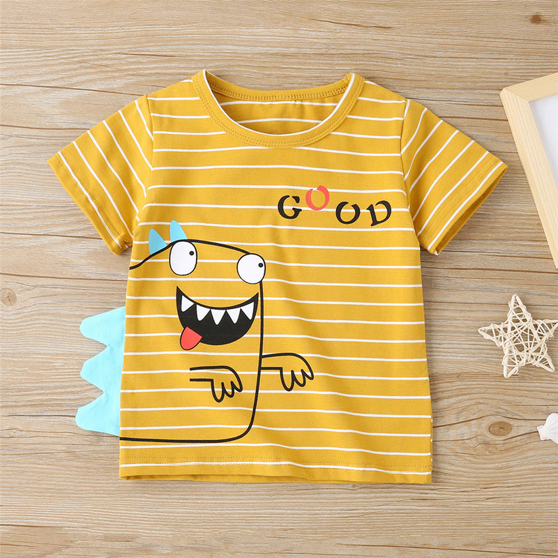 Boys Striped Dinosaur Letter Printed Short Sleeve T-Shirts Baby Boy Wholesale Boutique