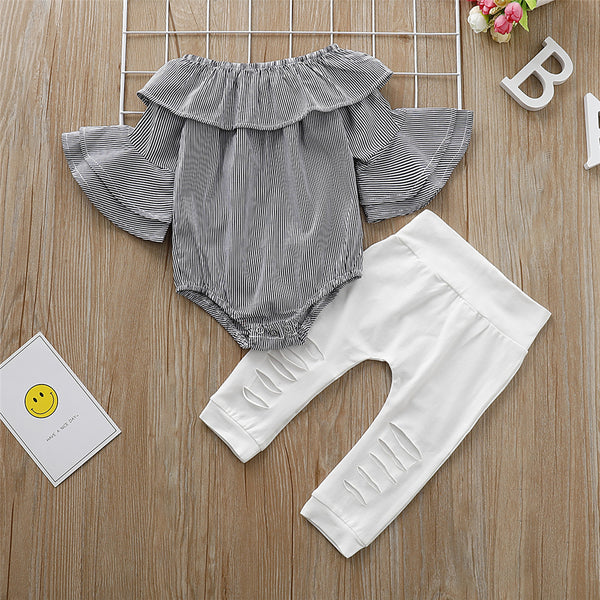 Baby Girls Striped Flared Sleeve Top & Solid Ripped Pants Cheap Baby Clothes In Bulk