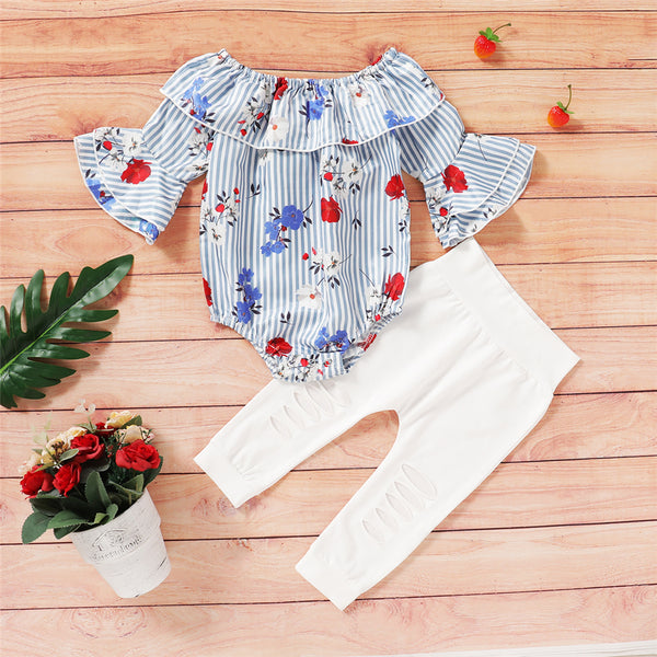 Baby Girls Striped Floral Printed Flared Sleeve Top & Ripped Pants Baby Boutique Wholesale